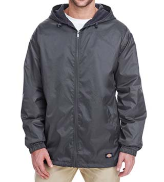 Fleece-Lined Hooded Nylon Jacket